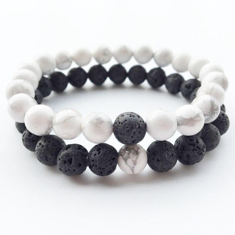 2 pcs / set black white lava stone Distance Bracelet DIY Strand Charm Bracelet For Men Women High quality friend gift Браслет