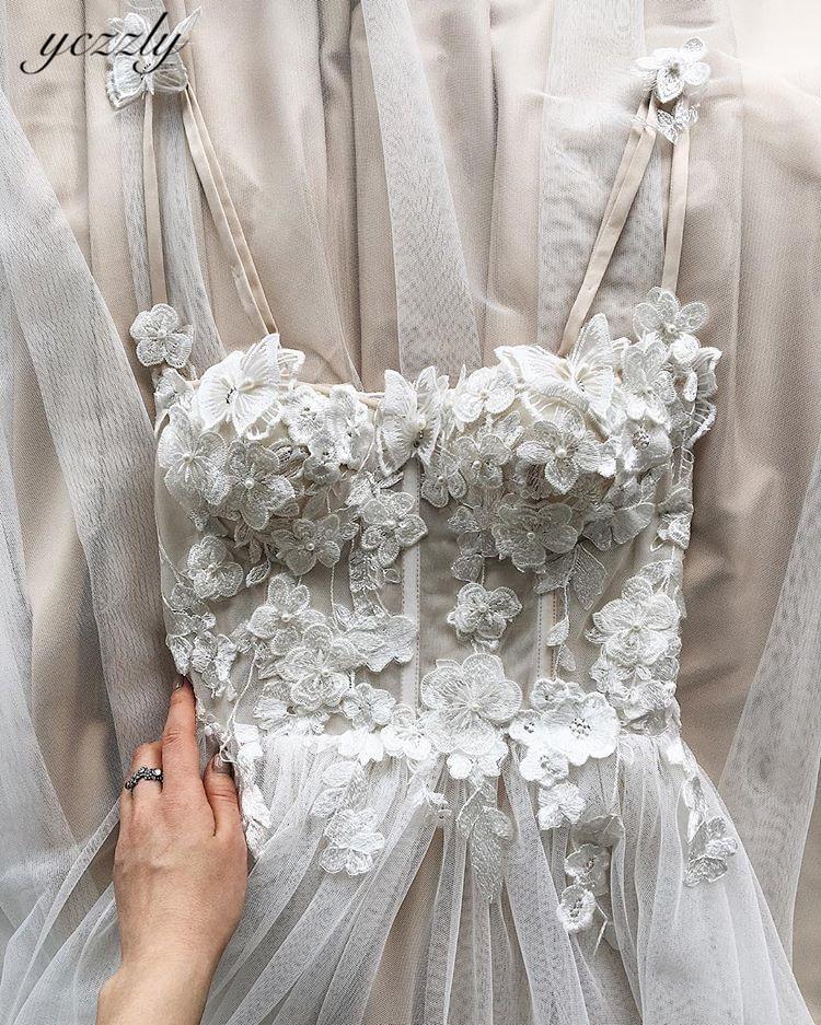 Bride Dress 2020 Sexy Sweetheart Spaghetti Straps Flowers Pearls Beach Wedding Dress Plus Size Long Wedding Gown With Slit W49