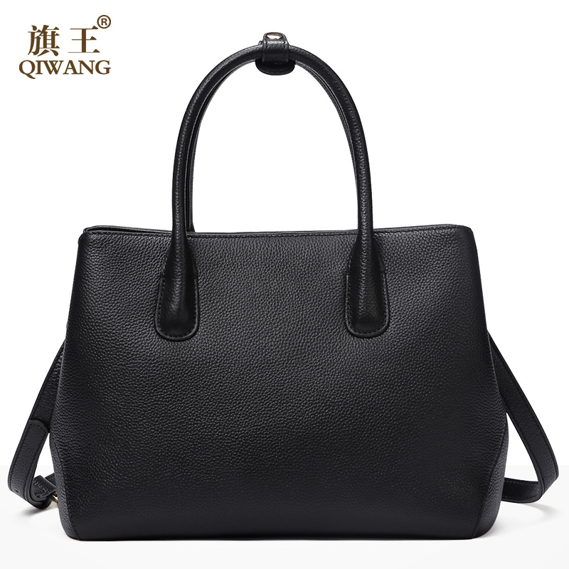 QIWANG European & American Style Women Leather Handbag Fashion Simple Ladies Cross Bag Designer High Quality Cowhide Bag Female