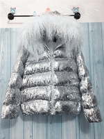 New 2018 Europe winter wear style short loose sequins silver hats lamb feather down cotton dress women.