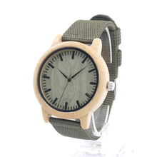 BOBO BIRD D11D12 Mens Natural Wood Bamboo Watches Womens Vintage Wooden Watch With Army Green Canvas Band