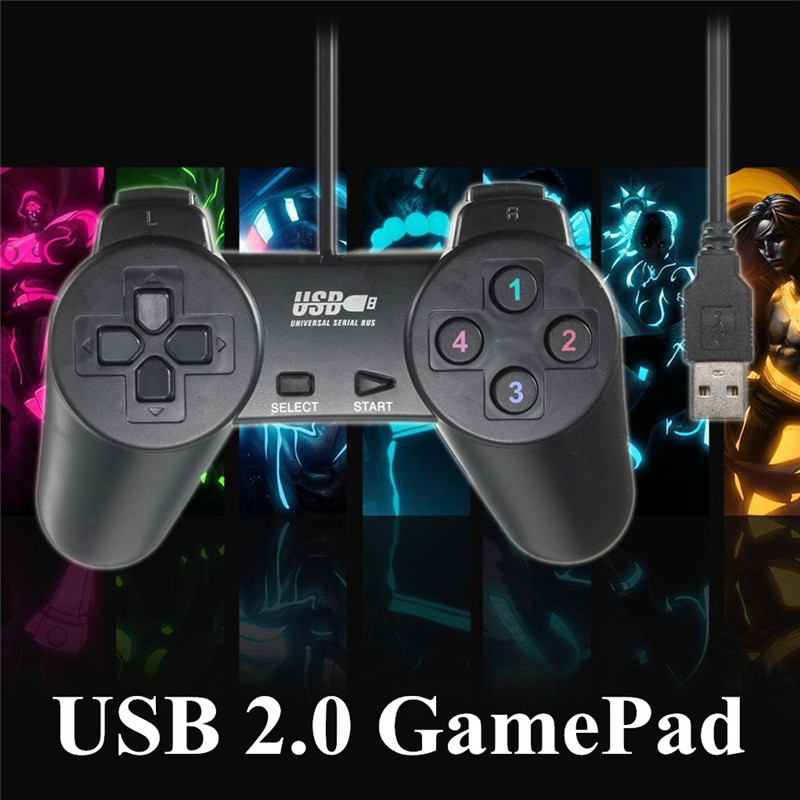 ShirLin Hot Sale Wired USB 2.0 Game Controller Gamepad Joystick Joypad for PC Laptop Computer for XP/for Vista Black
