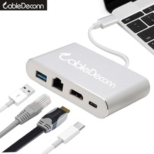usb-c hdmi thunderbolt 3 dock ethernet rj45 combo hub usb 3.0 usb 3.1 type c charge Multiport adapter for macbook pro 2017