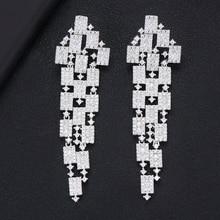 GODKI 73mm Luxo 3 Tom Geometria Longo Dangle Brincos Para As Mulheres Casamento Fu Cubic Zircon CZ Cristal Dubai Indiano brincos de noiva