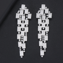 GODKI 73mm Luxury 3 Tone Geometry Long Dangle Earrings For Women Wedding Fu Cubic Zircon Crystal CZ Dubai Indian Bridal Earrings