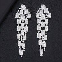 GODKI 73mm de lujo 3 tonos geometría pendientes largos para la boda de las mujeres Fu zirconia cúbica cristal CZ Dubái India pendientes de novia
