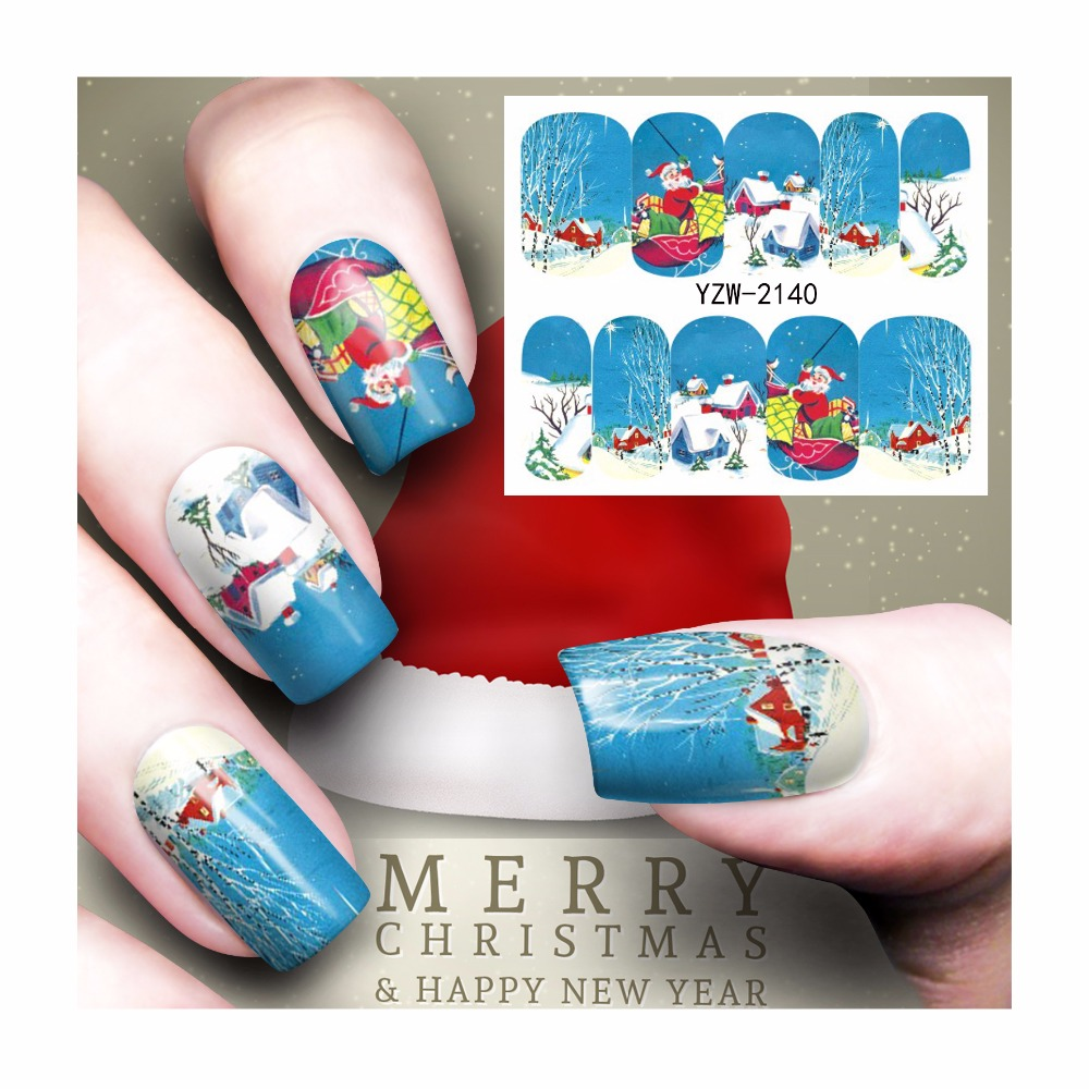 ộ_ộ ༽FWC Christmas Design Nail Art Water Transfer Sticker Decal For ...