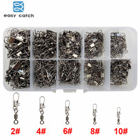 Easy Catch 300pcs Set Rolling Fishing Swivel With Interlock Snap Hard Fishing Lures Connector Set With