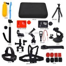 Gopro accessories set go pro kit mount for hero 3 3+ camera case Wrist head chest strap belt harness adapter tripod GP-K01