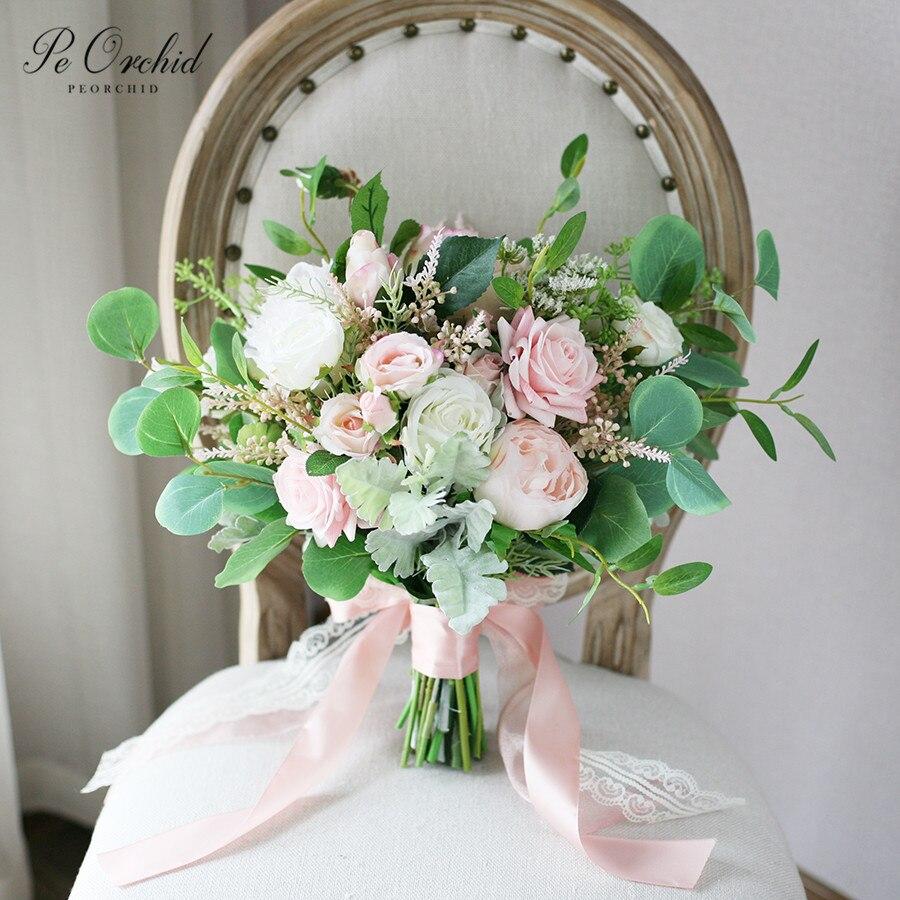Peorchidée beau rose blanc Bouquet de mariage Roses artificielles vert feuille d'eucalyptus Bouquet nuptiale vraie touche fleurs Bouquet