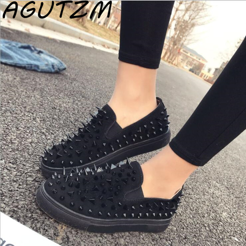 AGUTZM 2018 Brand New Spring and Summer Women Sneakers Rivet Fashion Slip-on Flat zapatillas mujer Casual Shoes Black Red White