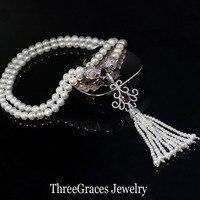 ThreeGraces Vintage סימולציה פרל תכשיטי אבן מעוקב Zirconia קריסטל פייב אדום ארוך מתנדנד PN049 שרשרת סוודרים לנשים