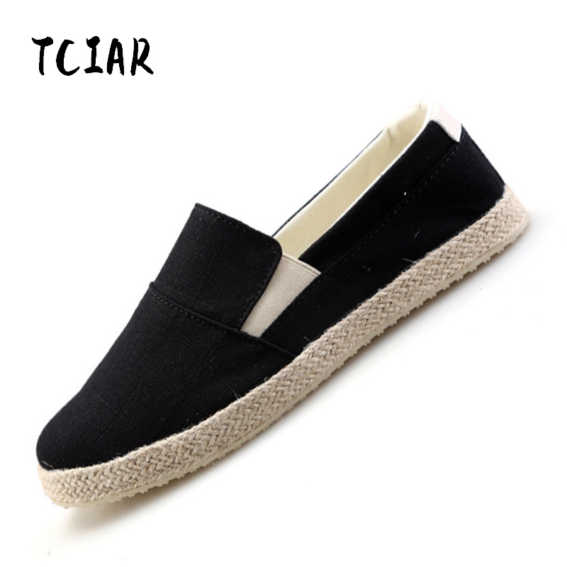 Summer 2018 Fashion Canvas Shoes Men Loafers Low-top Breathable Flat Shoes Men's Casual Slip-on Shoes Male Footwear DI006