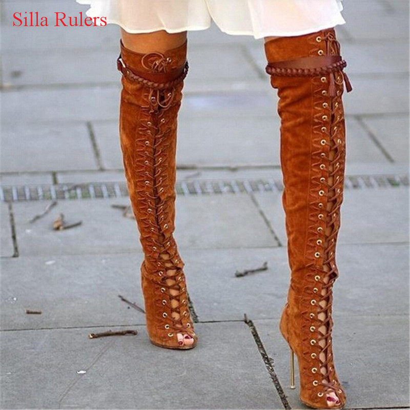 New Brown Grey Suede Fringe Women Boots Open Toe Lace Up Thigh High Boots High Heels Buckle Autumn Boots Shoes Woman Botas Mujer roho ethnic suede fringe gladiator sandals women ankle boots lace up high heels shoes woman cut out summer boots botas mujer