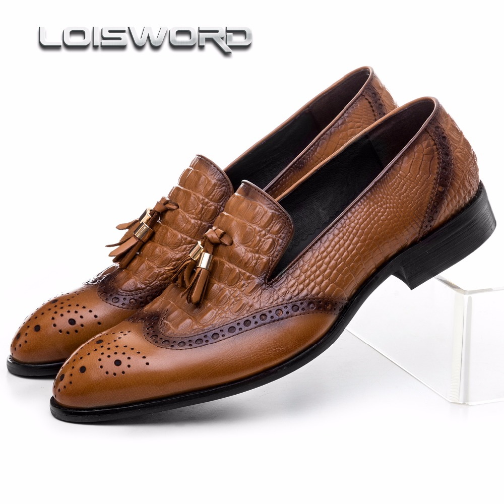 LOISWORD Crocodile Grain brown / black loafers mens casual shoes genuine leather dress shoes mens wedding shoes with tassel basic editions mens black genuine leather loafers with snakeskin patterns
