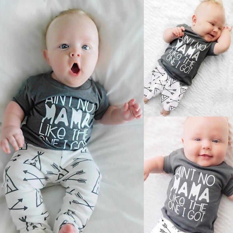 Nouveau 2018 Été Bébé Garçon Vêtements Ensembles Bébé Garçon Vêtements coton Gris lettres À Manches Courtes T-shirt + Pantalon Infantile Vêtements 2 Pcs ensemble