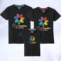 Mother Father Baby Clothes New Family Look Color Hand Pure Cotton Children Lovers Neck Men And Women T Shirt Matching Outfits