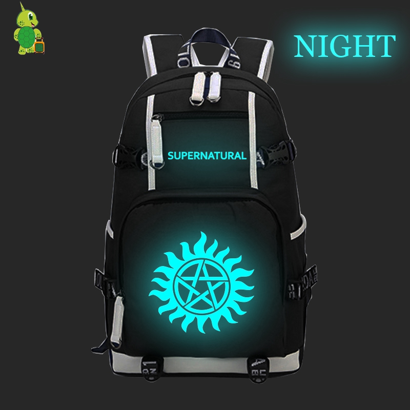 Supernatural Winchester Bros Dean Sam Luminous Backpack Canvas School Backpack For Teens Men Women Casual Travel Shoulder Bags