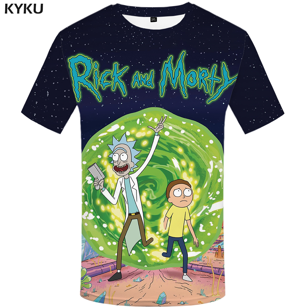 KYKU Brand Rick And Morty T Shirt Men Anime Tshirt Chinese 3d Printed T-Shirt Hip Hop Tee Cool Mens Clothing 2019 New Summer Top