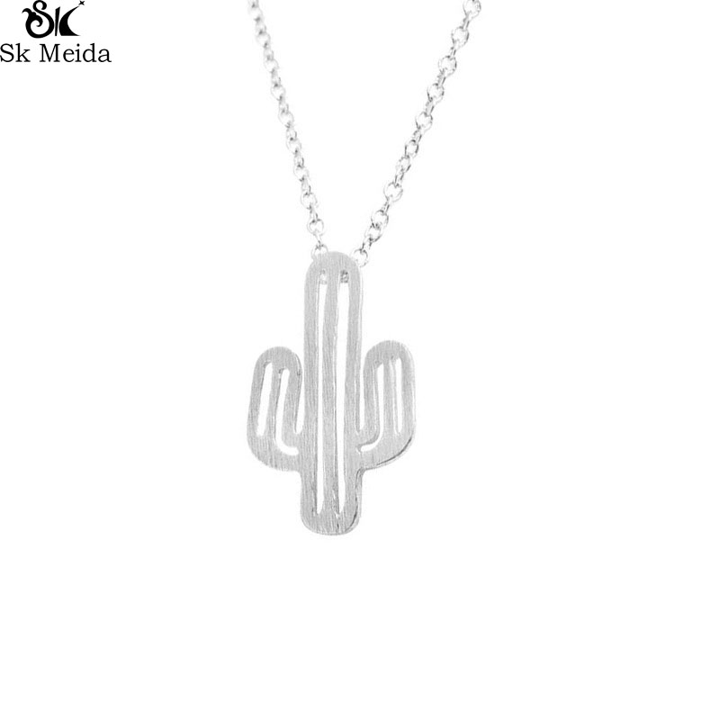 Minimalist Desert Prickly Pear Cactus Plant Pendant Necklace 925 Sterling Silver Handmade Jewelry TFI5ykNJ