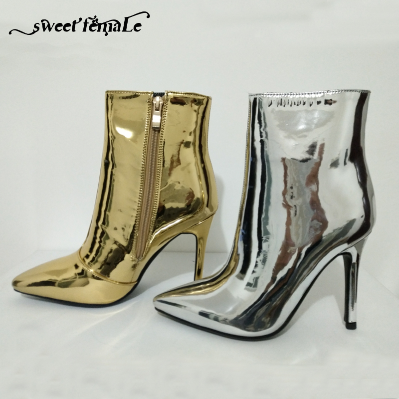 4a254a9cf69 Hot Fashion Woman Mirror Gold Silver Boots Metallic Leather Ankle Booties  Pointed Toe High Heels Sexy Ladies Shoes Women Boots