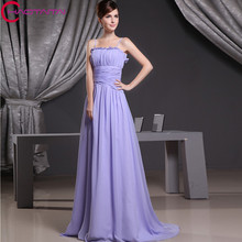 2016 Limited Para Hot Sale Strapless Pleated purple Chiffon Long Bridesmaid Dress Party Custom Size