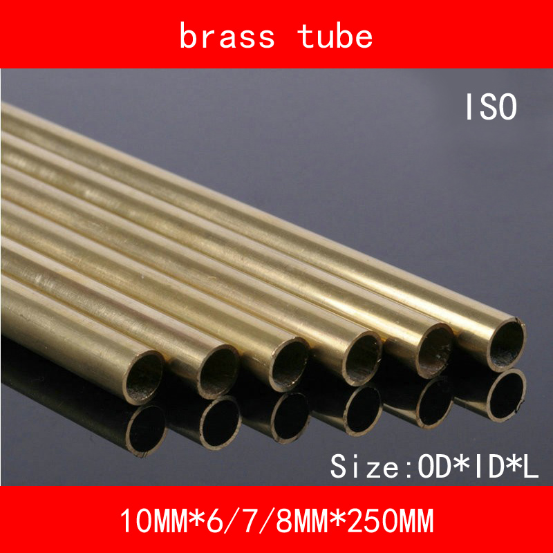 H62 Brass Seamless Pipe Tube OD*ID*Length 10mm*6/7/8mm*250mm ASTM C28000 CuZn40 CZ109 C2800 Hollow Bar ISO Certified 24 12 200mm od id length brass seamless pipe tube of astm c28000 cuzn40 cz109 c2800 h59 hollow bar iso certified free shipping