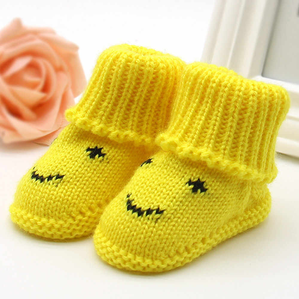Warm Winter Soft Woolen Baby Shoes Infants Crochet Knit Fleece Warm Boots Toddler Girl Boy Wool Snow Crib Shoes Booties First