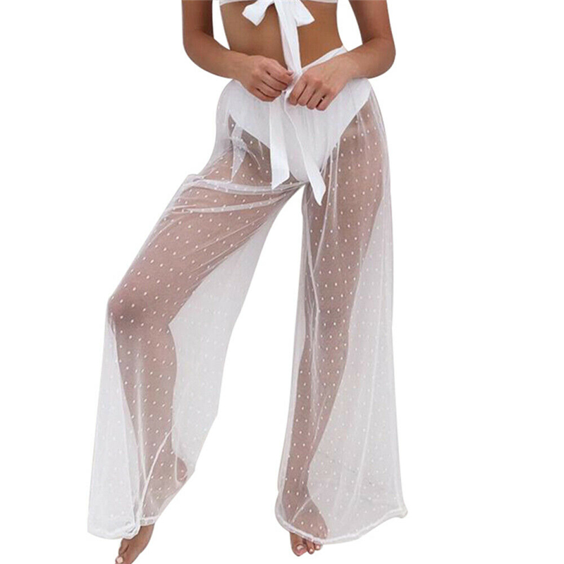 Women Sexy Bikini Cover Up White Baggy Vintage Wide Leg Pants Perspective Mesh See Through Pants High Waist Long Trousers 2019