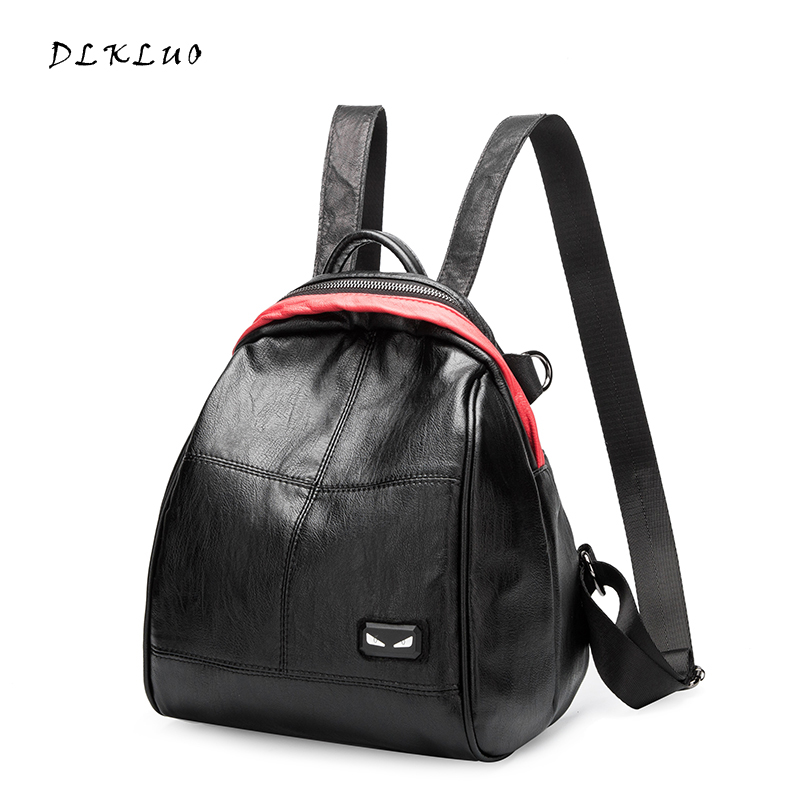 DLKLUO Women Backpack Fashion Genuine Leather backpack for teenage girls schoolbag characteristic small backpack Free Shipping
