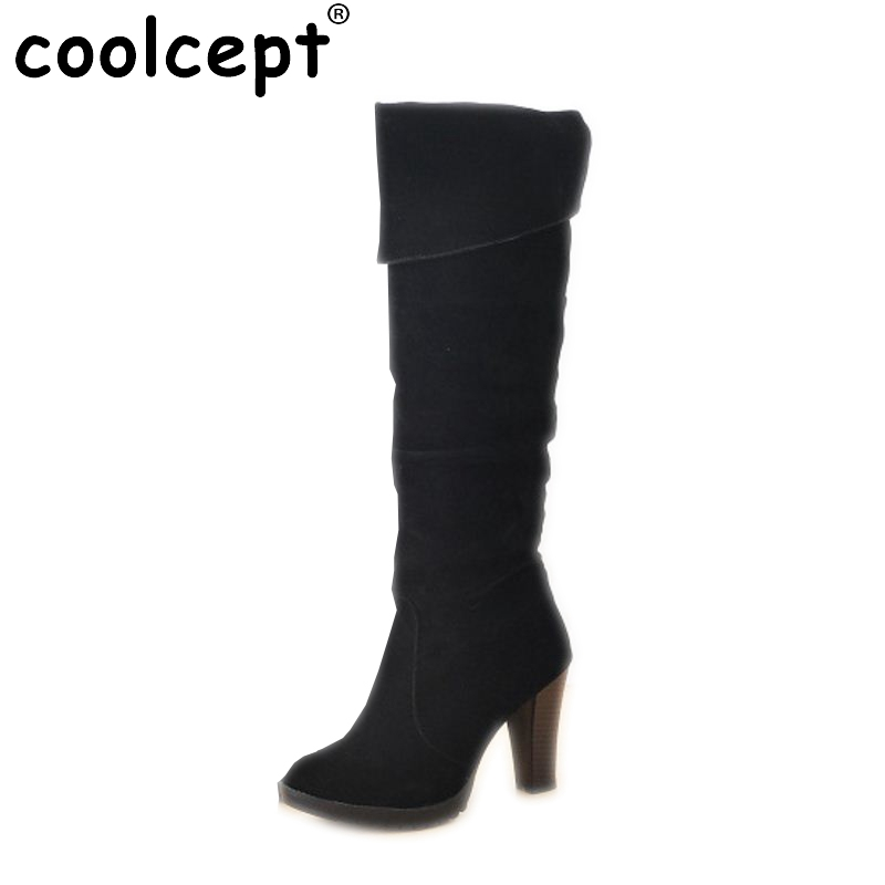 Free shipping knee boots women fashion snow winter footwear high heel shoes sexy warm half boot P7286 EUR size 34-41 free shipping over knee wedge boots women snow fashion winter warm footwear shoes boot p15323 eur size 34 39