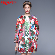 Pre-Sale Boho Sweet Coat 2017 Autumn Winter Heavy Work Floral Embroidery Appliques Full Sleeve Covered Button Women Long Coat