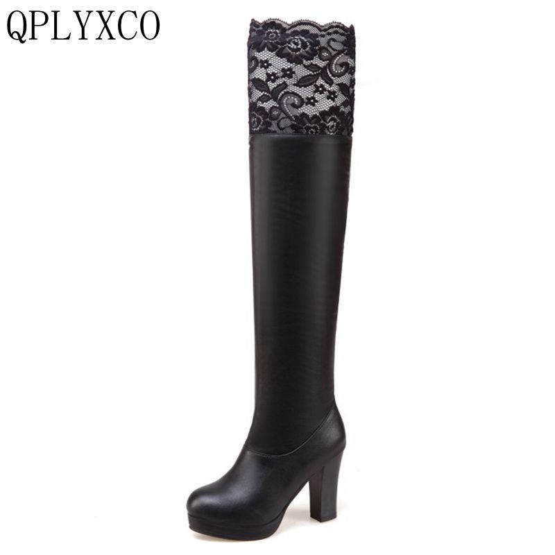 QPLYXCO 2017 New Super Big Size 34-50 Autumn winter stlye long Boots fashion shoes Women's over the knee Boots High heels 3339 цены онлайн