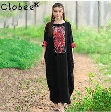 e5345f9de83 2018 Women Plus Size Festival India Style Little Black Dress Summer Cotton  Linen
