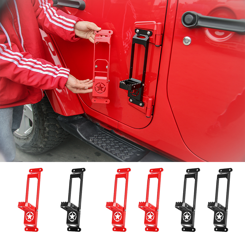 SHINEKA Best Sale Solid Steel Car Door Steps Foot Plate Climbing Kit Door Hinge Foot Rest Pedal Peg for Jeep Wrangler JK 2007+