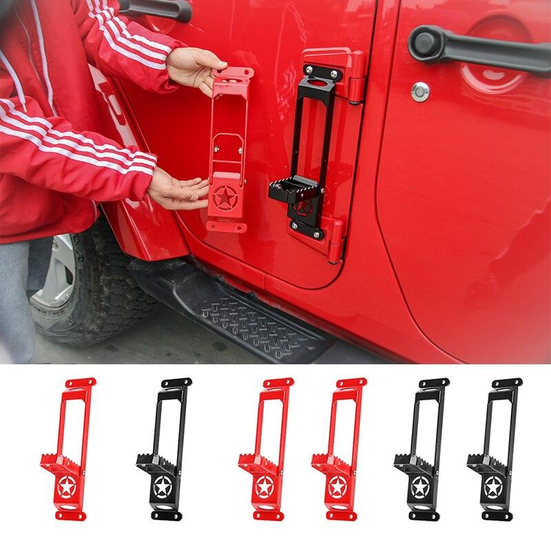 SHINEKA, escalera de puerta de coche de acero sólido, placa de pie, Kit de escalada, bisagra de puerta, pedal de apoyo, clavija para Jeep Wrangler JK JL 2007-2018