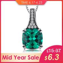 JewelryPalace Classic 2.1 ct Cushion Created Emerald Pendant Necklaces For Women 925 Sterling Silver Brand Jewelry Without Chain(China)