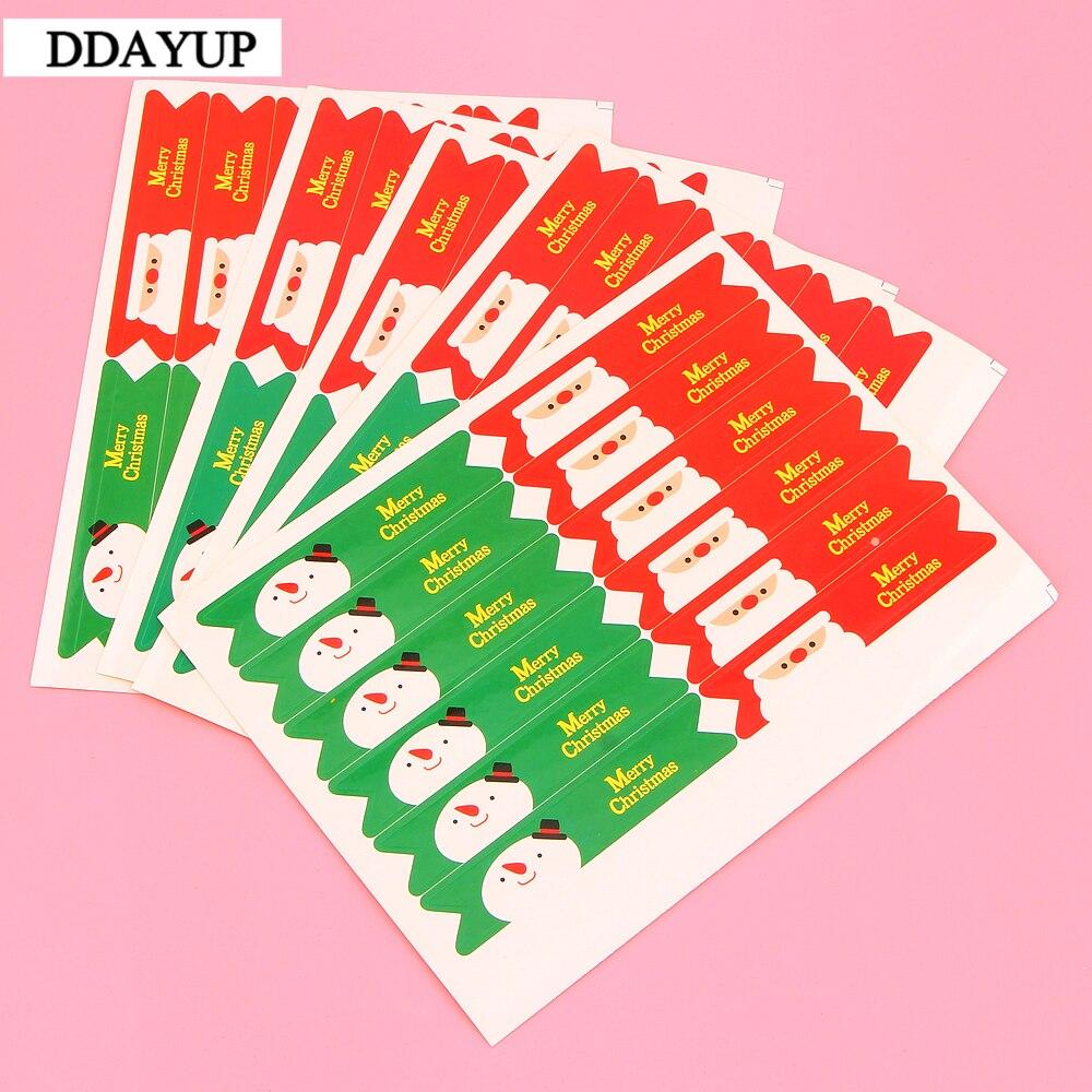 120 шт./лот/партия милый Санта Клаус веселый рождественский Флаг Дизайн DIY Multifunction Long Seal sticker Gift Label