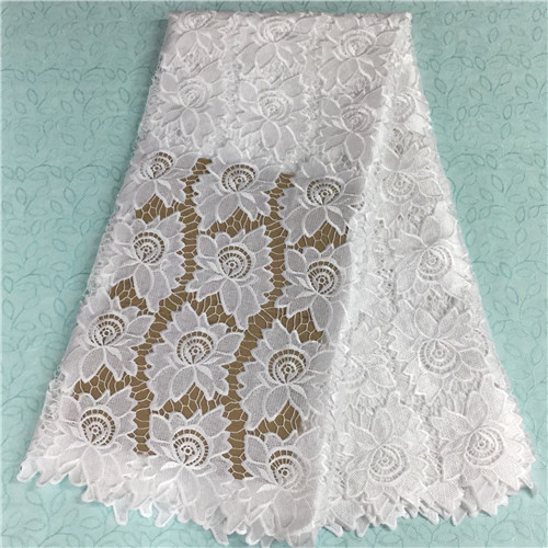 soft and elastic cotton jacquard Nigerian chantilly tulle white velvet african cord lace fabric for clothing wedding dress
