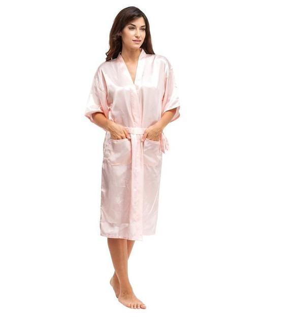 Para rosadas de seda rayón albornoz Kimono vestido chino larga túnica lencería Sexy camisón de dormir con la correa más el tamaño XXXL A-048