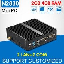 Мини-компьютер двухъядерный Intel Celeron N2830 2 Ethernet LAN 2 com Мини-ПК Окна 10 Linux Безвентиляторный офис настольный компьютер