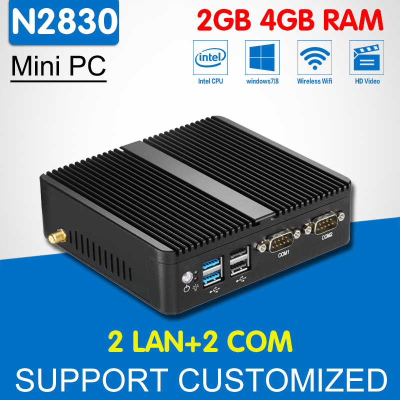 Mini Computer Dual Core Intel Celeron N2830 N2810 2 Ethernet Lan 2 Com Mini PC Windows 10 Linux Fanless Office Computer Desktop  celeron j1900 mini pc intel dual lan core win7 linux windows desktop thin client micro computer mini pcs with ram 4g ssd 64g