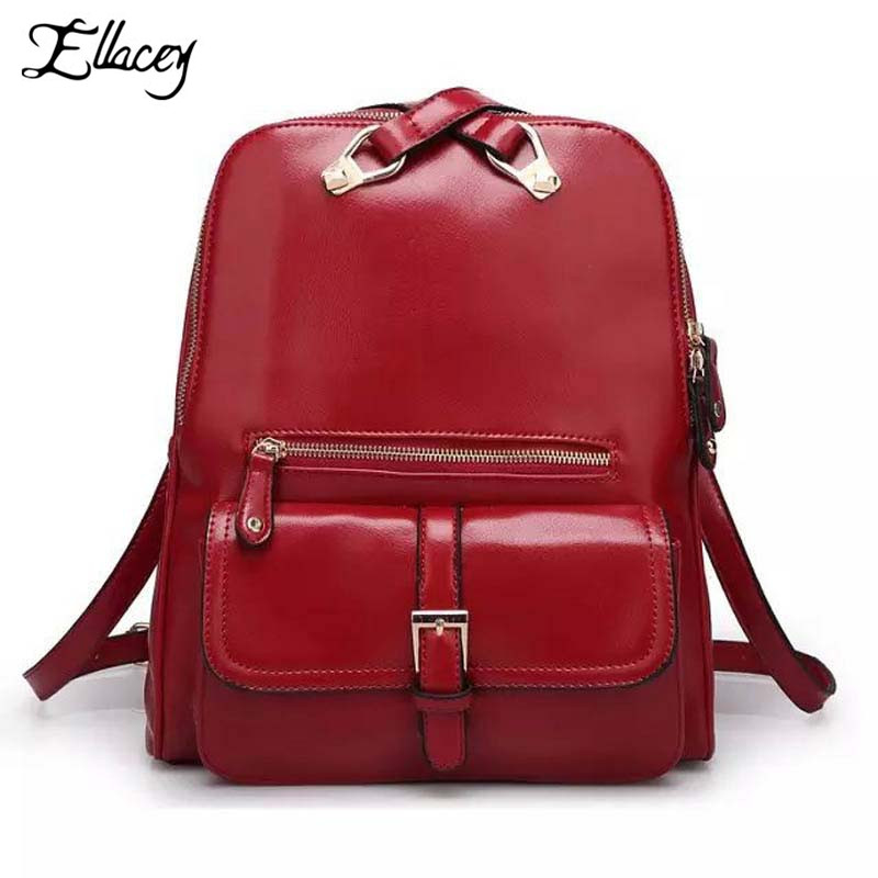 ФОТО New 2016 Fashion Women Red Leather Preppy Style Backpack Casual Design School Bags For Girls Vintage Simple Preppy Backpack