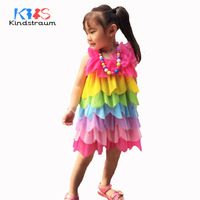 Kindstraum 2018 New Summer Kids Fashion Dress Rainbow Colors Striped Clothing Girls Trend Quality Dress Princess