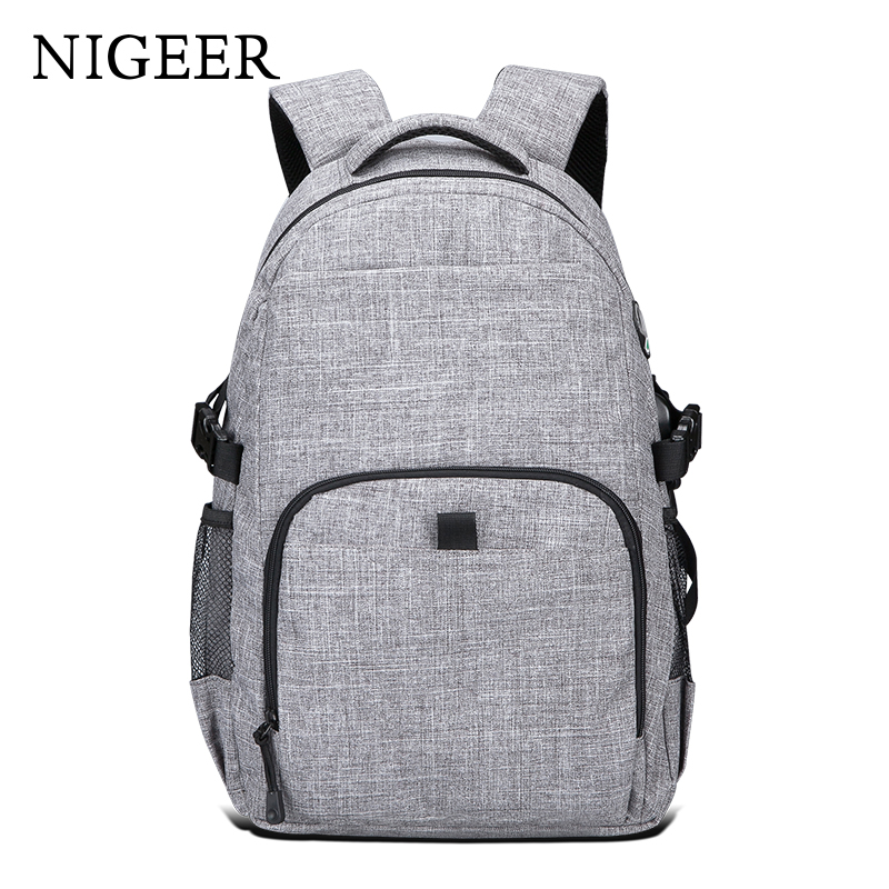 NIGEER Gray Casual Travel Backpack Fashion Laptop Backpacks for Teenage Man & Women School Bags with USB Charging Design n7159