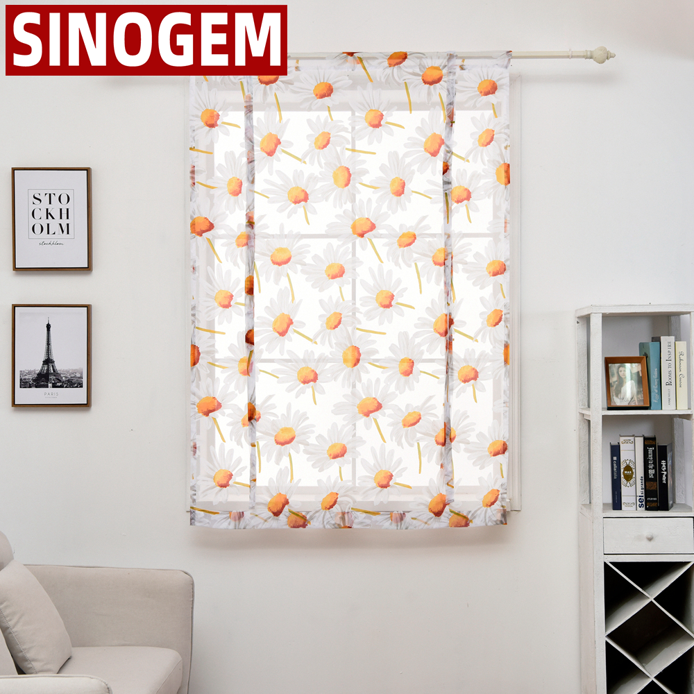 Sunflower Style New Tulle Kitchen Balcony Curtains Voile Roman Blinds Liftable Window Short Sheer Curtain(China)