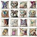 Pug Perro Pop Funda de Cojín Decorativo Throw Pillows Colorul BullDog Francés Acuarela Patrón de Lino Del Amortiguador Del Algodón Bull Terrier