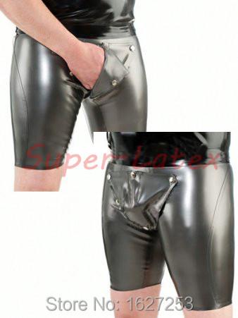 Sexy Catsuit de látex lencería Sexo látex caliente pantalones hombres Hotpants con Codepiece pantalones Leggings envío gratis entrega rápida