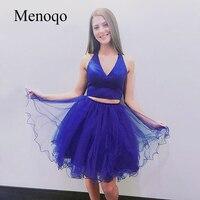 Menoqo Royal Blue Two Pieces Homecoming Dress Sexy V Neck Tulle Skirt Mini Short Prom Dress High School Graduation Date Dress