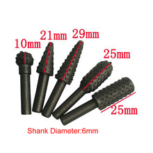 6MM 5 pcs /set Shank Steel Wood Rasps Grinding Head for Rotary Kit Pack Carving Engraving Chamfering Slotting Reaming